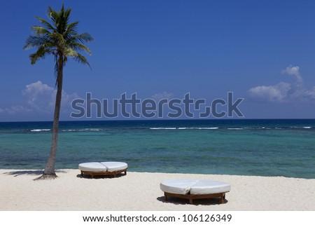 beach resort at the caribbean sea. Yucatan, Mexico - stock photo