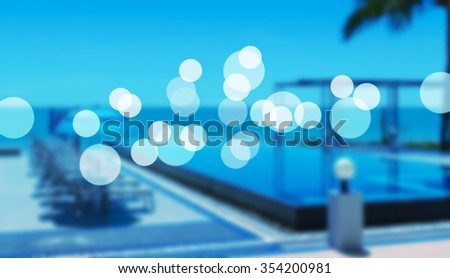 beach resort concept in blue tone and bokeh. - stock photo