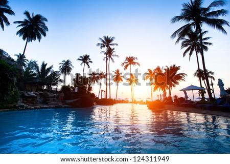 Beach resort in the tropics. - stock photo