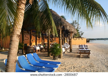 Beach resort vacation in the scenic Caribbean - stock photo