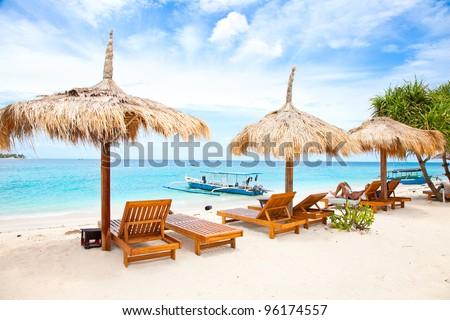 Beach rest pavillion in Gili islands, Meno, Indonesia - stock photo