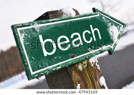 BEACH road sign - stock photo