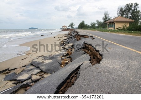 Beach Road slide along the beach by water and wind - stock photo