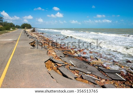 Beach Road slide by water and wind - stock photo