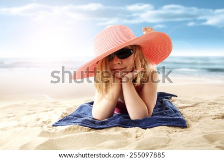 beach sand and girl  - stock photo