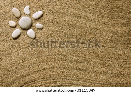 beach sand and sea stones - stock photo
