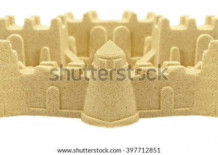 Beach Sand Castle With Walls and Towers Isolated On White Background, Indoor Or Outdoor Summer Kids Activity, Front View, Close Up, Isolated - stock photo