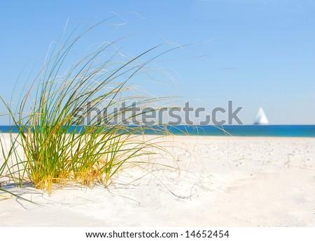 Beach sand dune grasses and sailboat - stock photo