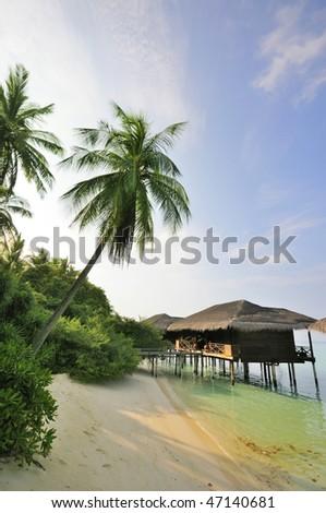 beach scene at maldives - stock photo