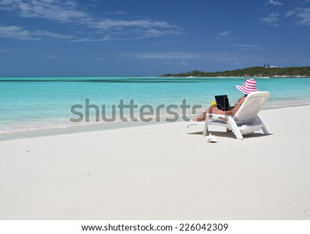 Beach scene, Exuma, Bahamas  - stock photo