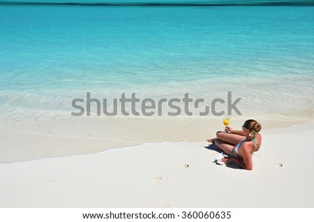 Beach scene. Exuma, Bahamas - stock photo