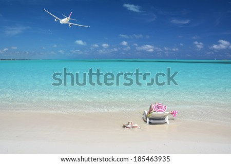 Beach scene. Great Exuma, Bahamas - stock photo