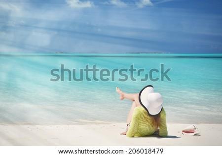 Beach scene, Great Exuma, Bahamas  - stock photo