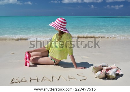 Beach scene. Great Exuma, Bahamas. - stock photo