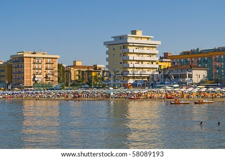 Beach Scene in Igea Marina, Rimini, Italy - stock photo