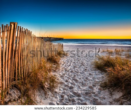 Beach scene in Panama City Beach Florida after sunset - stock photo