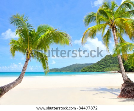 beach scene on a beautiful Island - stock photo
