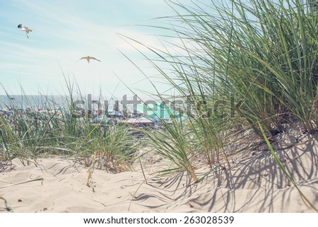 Beach scene on a summer day.  Instagram effect. - stock photo