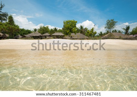 Beach scene on Gili Air, in West Nusa Tenggara, Indonesia - stock photo