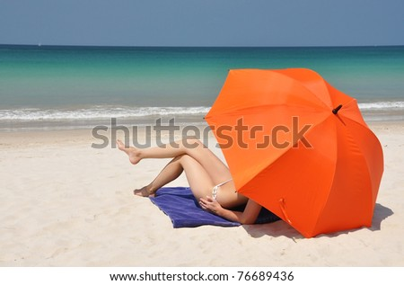 Beach scene. Phuket island, Thailand - stock photo