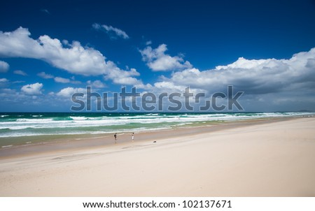 Beach scene, Surfers Paradise, Gold Coast, Queensland, Australia - stock photo