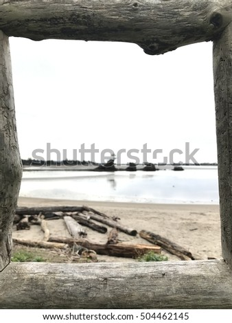 beach scene through driftwood frame