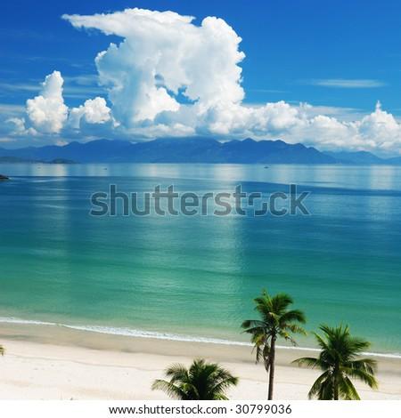 Beach Scene, Tropics, Pacific ocean - stock photo