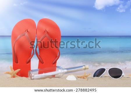 Beach scene with flip flops sandals and bottle post in summer vacation, holidays - stock photo