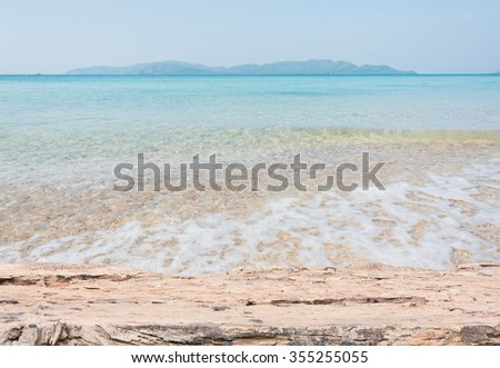 Beach Scene With Wooden Floor background can put or montage your products
