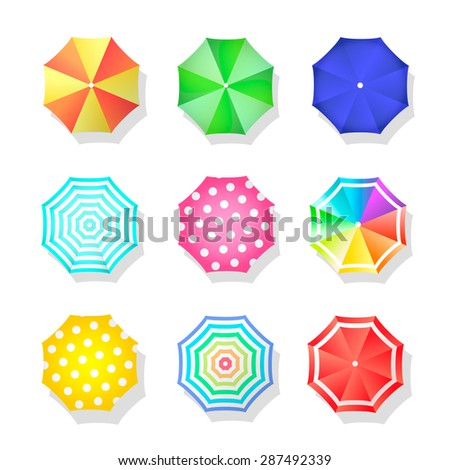 Beach set  of sun umbrellas top view. Summer   parasol.  - stock photo