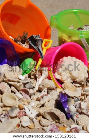 Beach, Shells and Sand Buckets