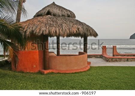Beach Side Cabana palapa - stock photo