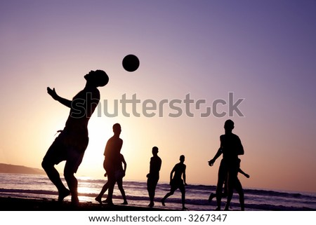 Beach Silhouettes - stock photo