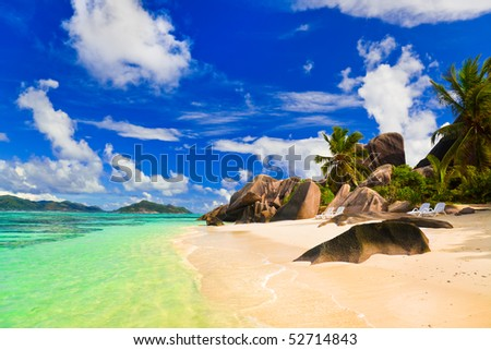 Beach Source d'Argent at island La Digue, Seychelles - vacation background - stock photo