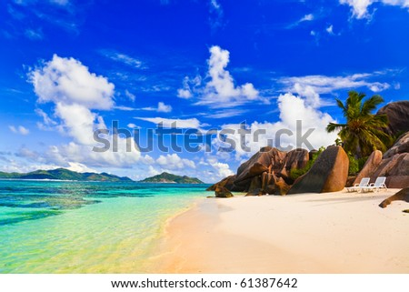 Beach Source d'Argent at Seychelles - vacation background - stock photo