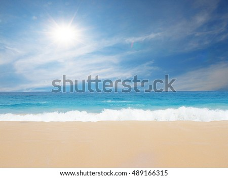 Beach summer blue sea wave and sky sunny - summer travel