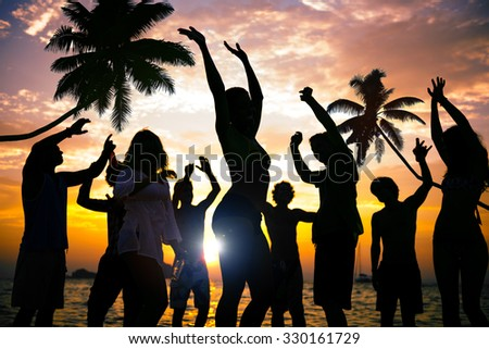 Beach Summer Party Enjoyment Happiness Youth Culture Concept
