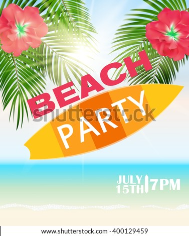 Beach Summer Party Poster Illustration