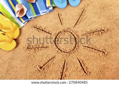 Beach summer sun, flip flops, top view - stock photo