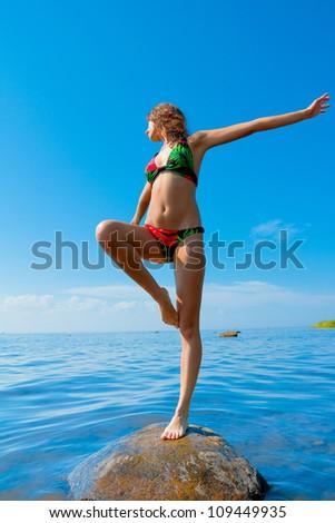 Beach Sunbathing Bliss - stock photo
