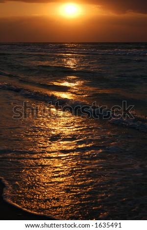 beach sunrise - stock photo