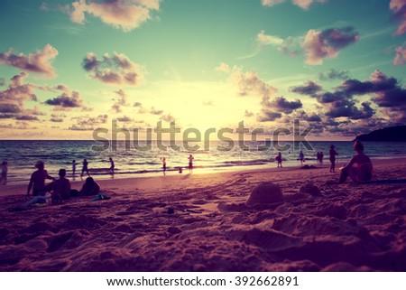Beach sunset scenery.Phuket island.Thailand travel - stock photo