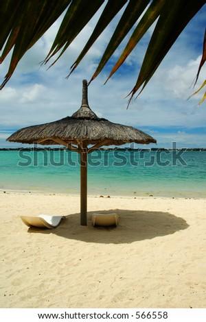 Beach sunshade, Grand Bay, Mauritius - stock photo