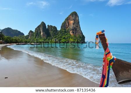 Beach, surf, ocean, sky ... Island in the Gulf of Thailand, the tourist season - stock photo