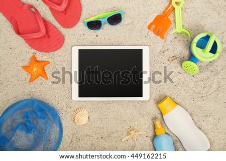 Beach tablet hero header - stock photo