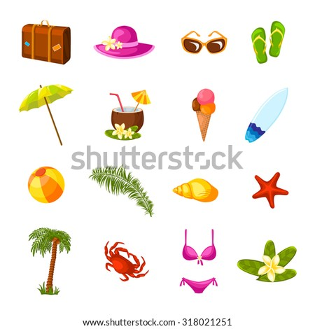 Beach time vacation surf coconut milk holiday paradise weekend bikini party multicolored icons set isolated  illustration - stock photo