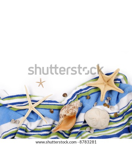 Beach towel with star fish and sea shells