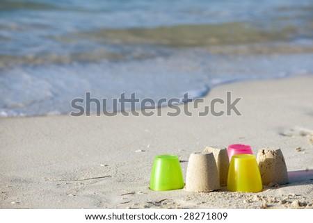 Beach toys on sand beach of Bahia Honda state park, Florida - stock photo