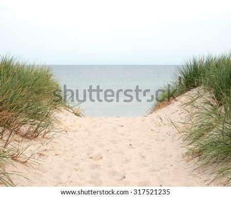 Beach transition to the Baltic Sea Germany - stock photo