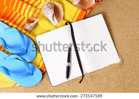 Beach travel writing concept background, notebook, pen, copy space. - stock photo